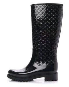 Louis Vuitton Womens Monogram Black Rain Boots